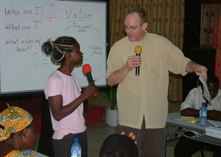 Joel leading microfinancefor business leaders in Sunyani Ghana